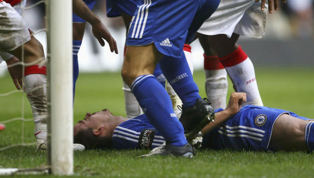 <p>Amongst a strong array of personal accolades, cast your mind back to the moment the enigmatic skipper was accidentally forced into an unconscious state by Arsenal's Abou Diaby.</p> <br><p>During the Blues 2-1 Carling Cup triumph over Arsene Wenger's Gunners, Terry was left struggling for breath after swallowing his tongue as a result from a kick to the face from the French midfielder.</p> <br><p>The England international was left sprawled out on the Millennium Stadium's turf, and needed 5 minutes of urgent medical attention. Needless to say, it was undoubtedly a shuddering instance for everyone to watch. </p> <br><p>After a short time in hospital, Terry was omitted, and that in itself stands as testament to his underlying tenacity.</p>