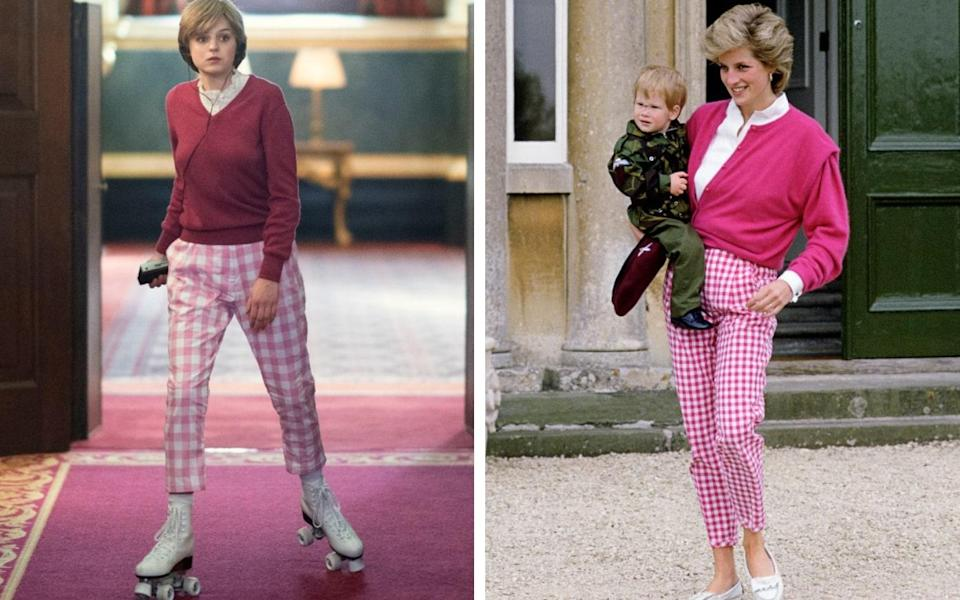 Emma Corrin as Diana, rollerskating down the corridors of Buckingham Palace; and Princess Diana at Highgrove in 1986 - Netflix/ Getty