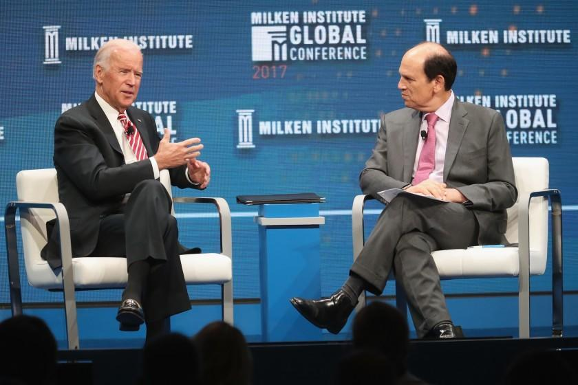 BEVERLY HILLS, CA - MAY 03: Former U.S. Vice President Joe Biden (L) and Chairman of the Milken Institute Michael Milken speak during the Milken Institute Global Conference 2017 at The Beverly Hilton Hotel on May 3, 2017 in Beverly Hills, California. (Photo by Frederick M. Brown/Getty Images) ** OUTS - ELSENT, FPG, CM - OUTS * NM, PH, VA if sourced by CT, LA or MoD **