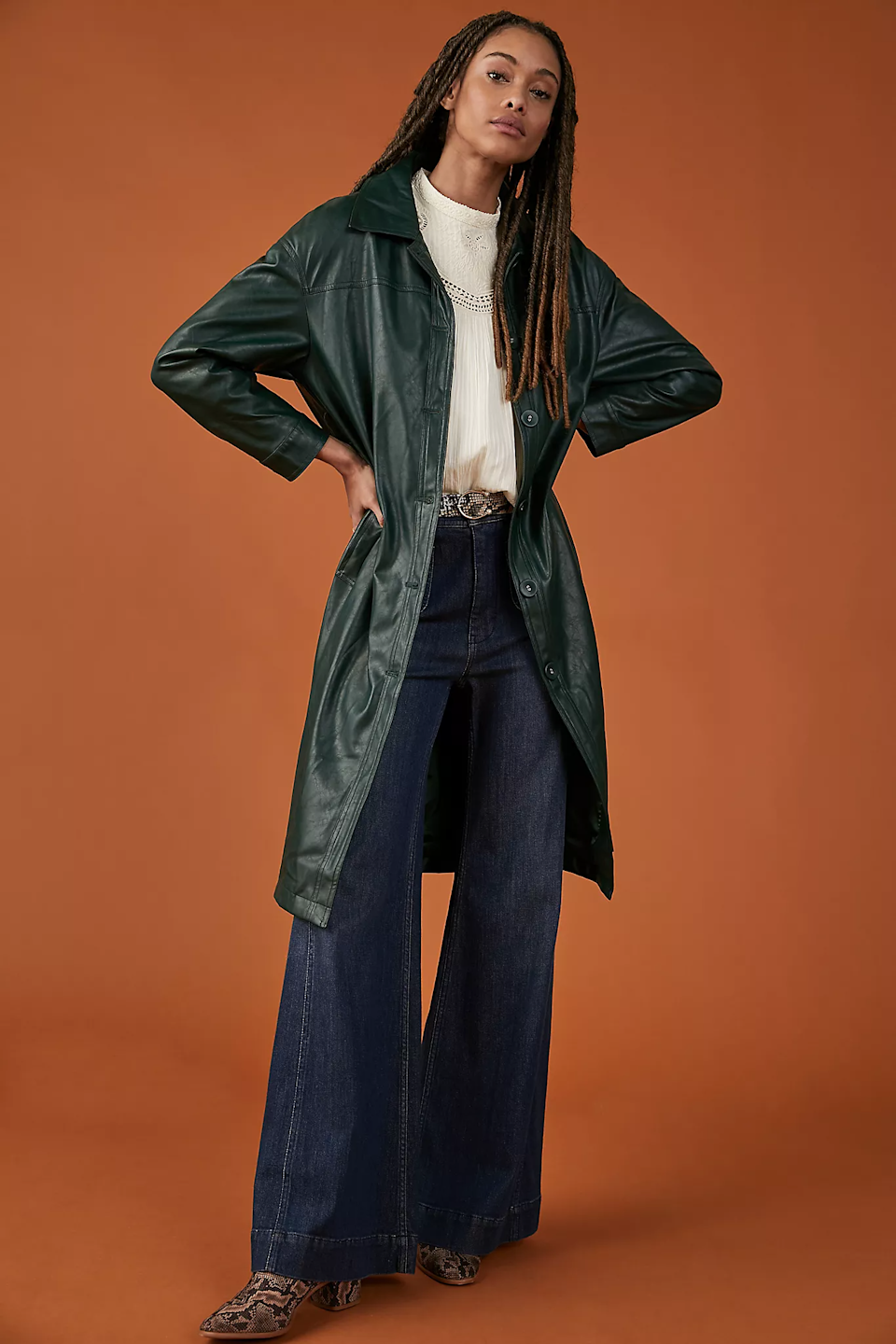 """<br><br><strong>En Saison</strong> Deirdre Faux Leather Trench Coat, $, available at <a href=""""https://go.skimresources.com/?id=30283X879131&url=https%3A%2F%2Fwww.anthropologie.com%2Fshop%2Fdeirdre-faux-leather-trench-coat"""" rel=""""nofollow noopener"""" target=""""_blank"""" data-ylk=""""slk:Anthropologie"""" class=""""link rapid-noclick-resp"""">Anthropologie</a>"""
