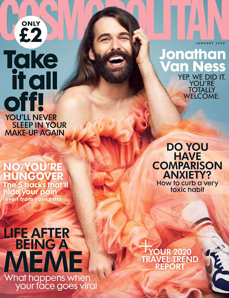 Queer Eye's Jonathan Van Ness on the cover of the January 2020 issue of Cosmopolitan. [Photo: Rachell Smith/PA Wire]