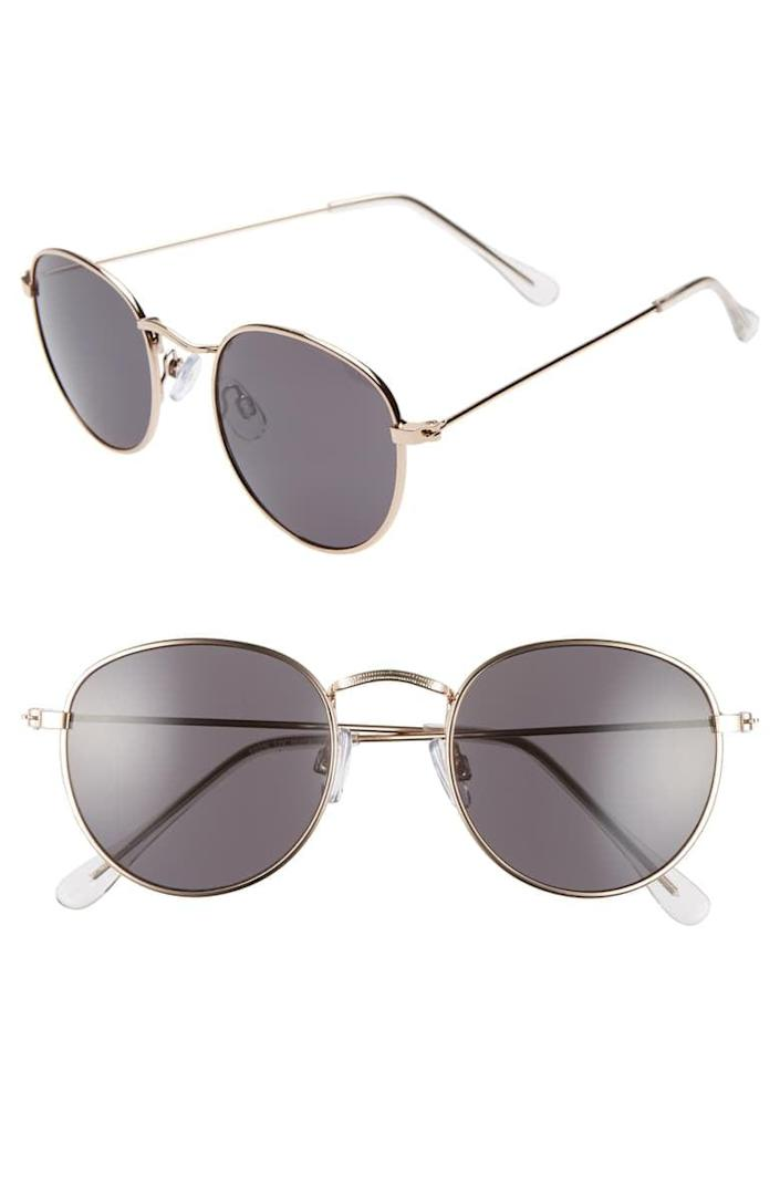 <p>You can't go wrong with these <span>BP. 48mm Round Metal Sunglasses</span> ($15).</p>