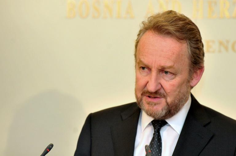 The Muslim Bosniak member of Bosnia  Bakir Izetbegovic, during a press conference, on February 23, 2017, following an emergency meeting about the International Court of Justice's 2007 ruling clearing Serbia of genocide during civil war