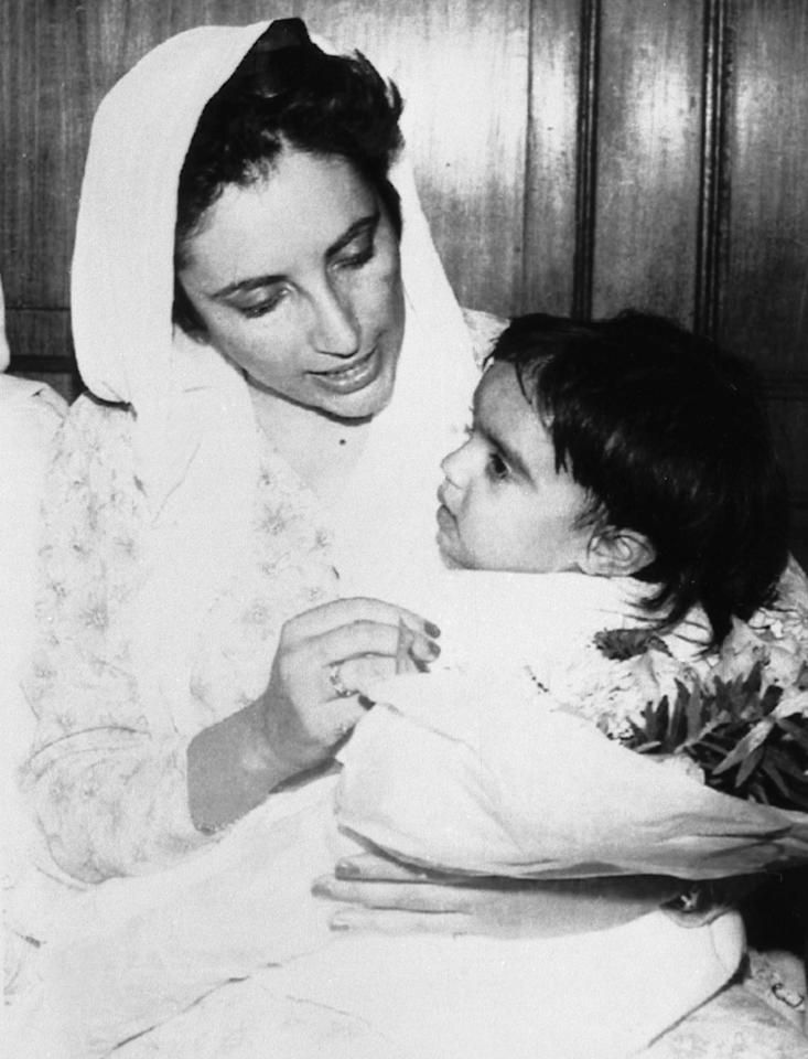 <p>When Bhutto, who was the first-ever female leader of a Muslim nation, gave birth to her daughter Bakhtawar (shown here) in 1990, she had been in office just a little over a year. Her first child was born just a couple of months before she took office in 1988, and her third child was also an infant when she took office for the second time. (AP Photo) </p>