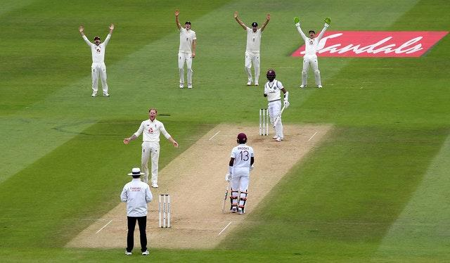Ben Stokes successfully appeals for the wicket of Kraigg Brathwaite