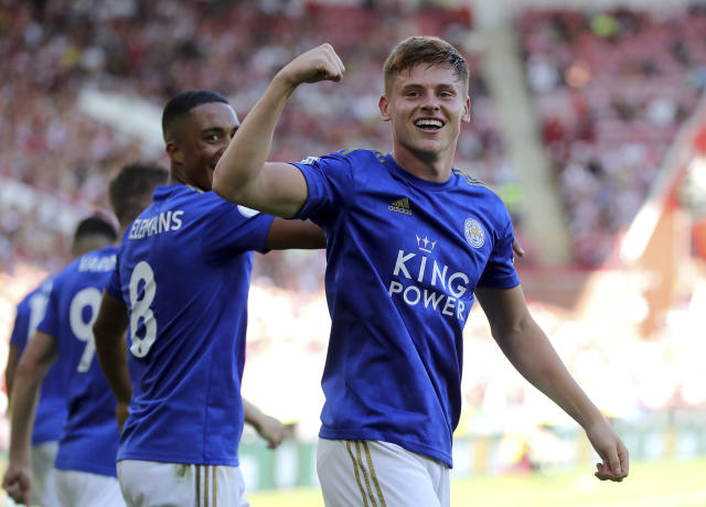 Leicester City's Harvey Barnes celebrates after scoring his side's second goal of the game during the English Premier League soccer match between Sheffield United and Leicester City at Bramall Lane stadium, Sheffield, England. Saturday, Aug, 10 2019. (Richard Sellers/PA via AP)