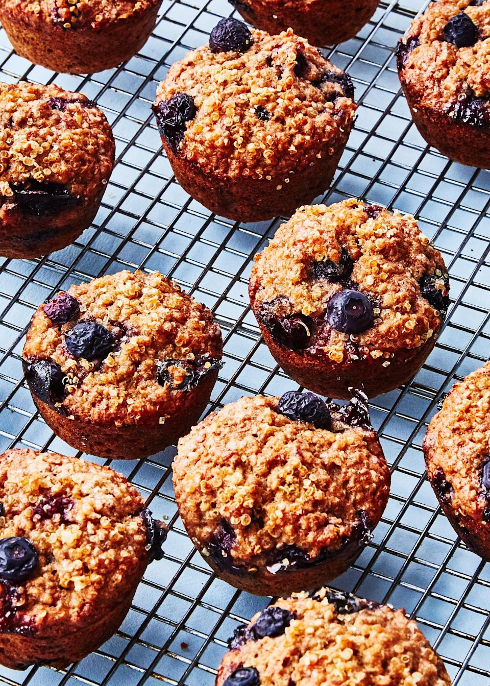 """Call us persnickety, but we generally disagree with the basic cooking instructions given on quinoa packages, which usually call for too much water, and might explain why you don't like quinoa. See below for our favorite approach. <a href=""""https://www.bonappetit.com/recipe/quinoa-banana-muffins?mbid=synd_yahoo_rss"""" rel=""""nofollow noopener"""" target=""""_blank"""" data-ylk=""""slk:See recipe."""" class=""""link rapid-noclick-resp"""">See recipe.</a>"""