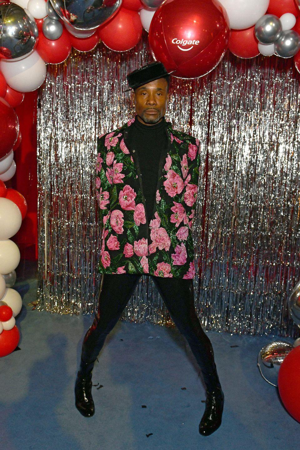 <p>Porter wore a Richard Quinn-inspired floral look to the Richard Quinn show on day three of London Fashion Week. The star was later seen at the Colgate #Poutfree x Richard Quinn after party wearing a pink and green floral-printed blazer with a black hat, sunglasses and black shiny trousers. </p>