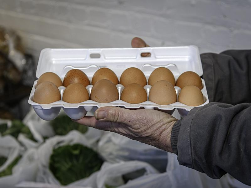 Fresh local eggs offered at the Winter Market in Onancock.