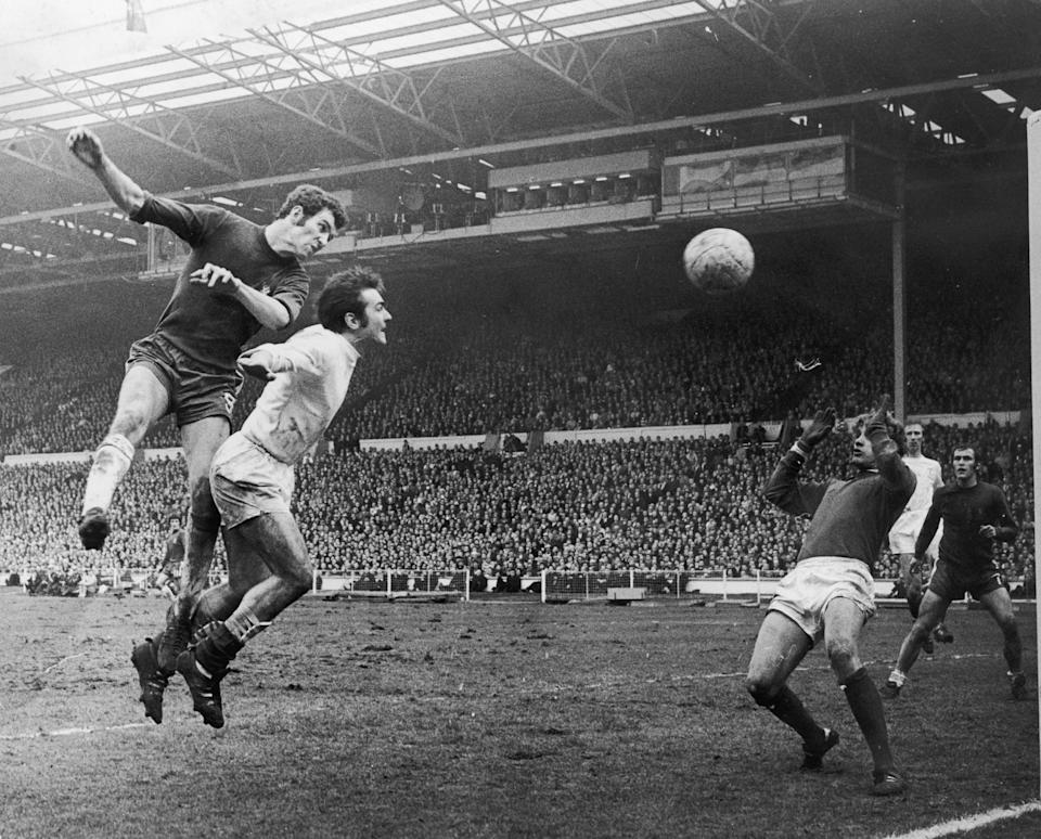 Peter Osgood beats Leeds' Terry Cooper to the ball during the FA Cup finalGetty Images