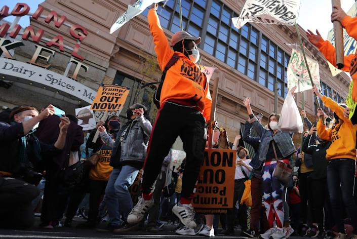 PHILADELPHIA, PA.- NOV. 6, 2020. Anti-Trump protesters rally outside the Philadelphia Convention Center as vote counting in Pennsylvania indicated a surge by Democratic candidate Joe Biden on Friday, Nov. 6, 2020. (Luis Sinco / Los Angeles Times)