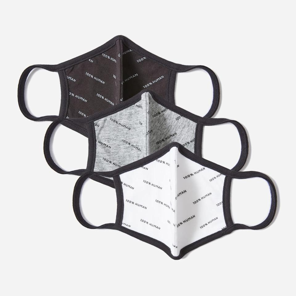 The 100% Human Face Mask 3-Pack in Graphic Print. Image via Everlane.