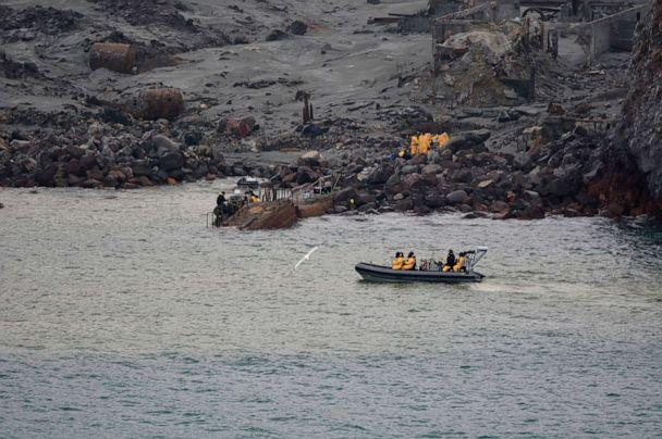 PHOTO: Soldiers work to recover bodies from White Island after a volcanic eruption in Whakatane, New Zealand, Dec. 13, 2019. A team of eight New Zealand military specialists landed on White Island early Friday to retrieve the bodies. (New Zealand Defense Force via AP)