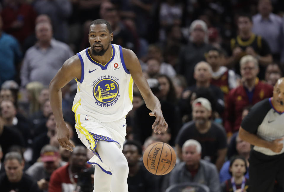 While his fellow All-Stars struggled, Kevin Durant thrived on the road with a dominant performance to lead the Warriors to a commanding 3-0 NBA Finals lead. (AP)