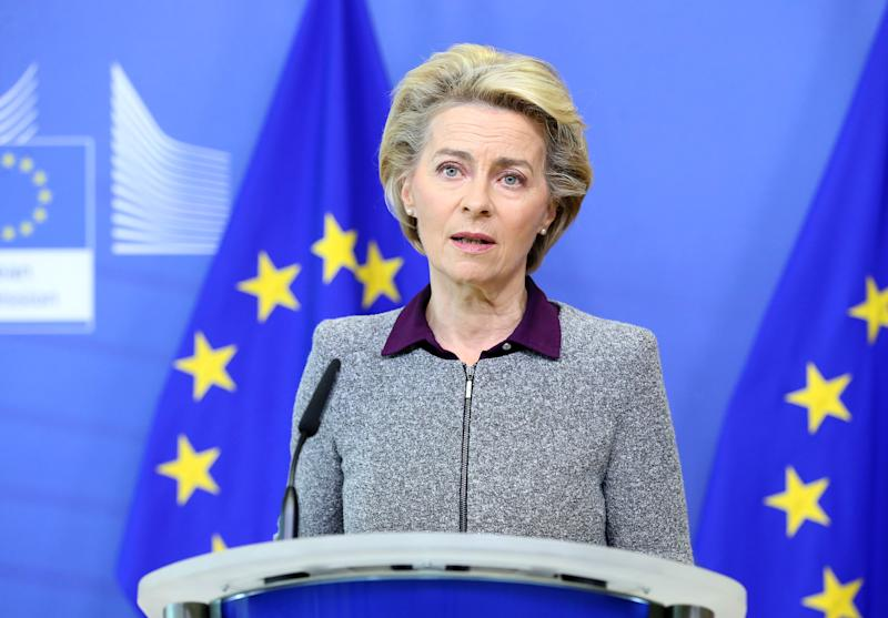 President of the European Commission Ursula von der Leyen addresses a press conference following the resignation of the EU trade commissioner, in Brussels on August 27, 2020. - EU trade commissioner Phil Hogan, a key figure in Brexit talks and one of the bloc's most senior officials, resigned on August 26, after a week of pressure over a breach of coronavirus guidelines. Hogan, 60, tendered his resignation to European Commission president Ursula von der Leyen as the row rumbled on, and strong indications from the Irish government he should fall on his sword. (Photo by François WALSCHAERTS / POOL / AFP) (Photo by FRANCOIS WALSCHAERTS/POOL/AFP via Getty Images)