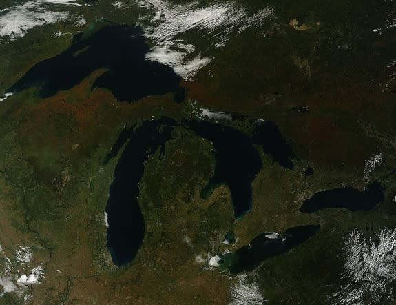Fall colors creep into the Great Lakes area. This image was acquired on Sept. 26.