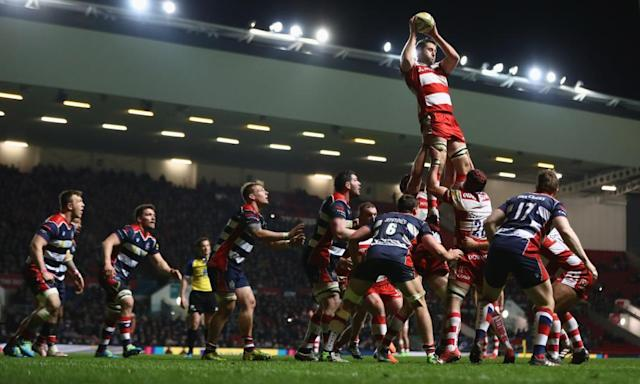 """<span class=""""element-image__caption"""">Gloucester's Jeremy Thrush climbs highest against Bristol at Ashton Gate.</span> <span class=""""element-image__credit"""">Photograph: Michael Steele/Getty Images</span>"""