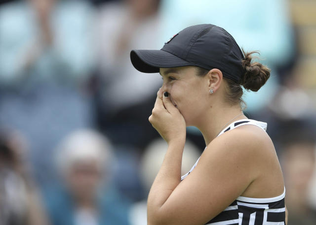 Australia's Ashley Barty reacts after beating Germany's Julia Goerges during the final match of the Nature Valley Classic at Edgbaston Priory Club in Birmingham, England, Sunday June 23, 2019. (Tim Goode/PA via AP)