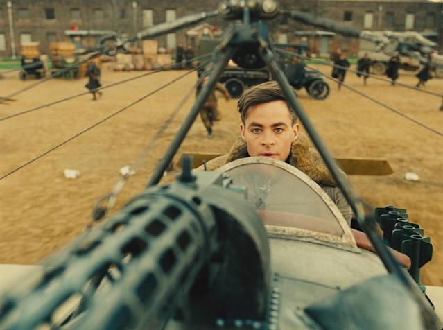 <p>Spy Steve Trevor (Chris Pine) tries to escape German forces in a stolen plane after learning of their nefarious plot to create a deadly chemical weapon. (Photo: Warner Bros.) </p>