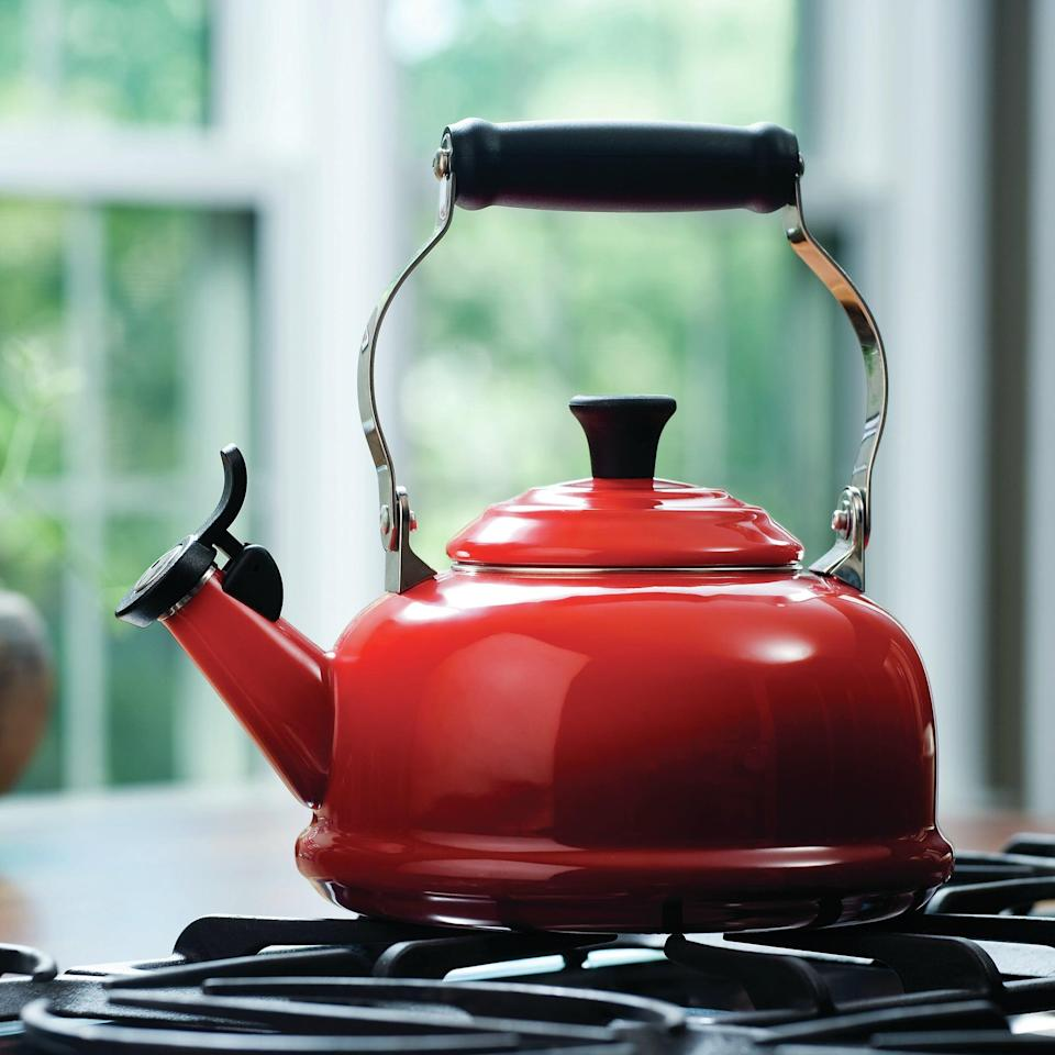 <p>This <span>Le Creuset Enamel on Steel Whistling Stovetop Kettle</span> ($75, originally $140) comes in four other cool choices.</p>