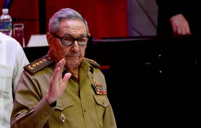 Raúl Castro waves at the end of the Eighth Congress of the Communist Party of Cuba, in Havana.