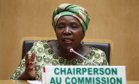 Nkosazana Dlamini-Zuma, chairperson of AU Commission, addresses a news conference during the closing ceremony of the Ordinary session of the Assembly of Heads of State and Government of the African Union at the African Union headquarters in Addis Ababa