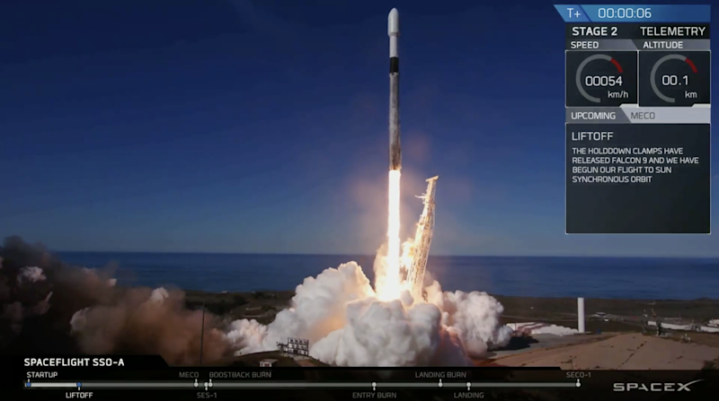 A SpaceX Falcon 9 rocket launches from Vandenberg Air Force Base in California on Monday, Dec. 3, 2018, making company history. It marked the first time the same booster flew three separate missions.