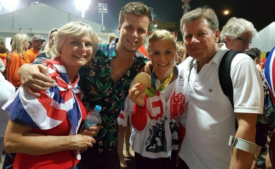Georgie with her family - mum Cathy, brother Charlie and dad Robert - after winning Olympic gold in 2016.