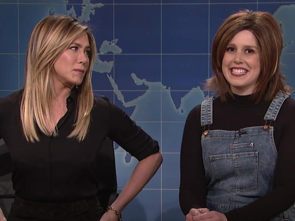 Jennifer Aniston joined Vanessa Bayer on 'Saturday Night Live' in 2016 for a skit dedicated to Bayer's impression of Rachel from 'Friends' (YouTube/Saturday Night Live)