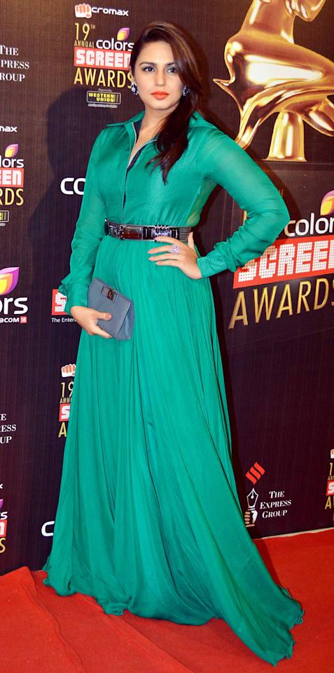 Another newbie who was seen in the gorgeous colour green was actress Huma Qureshi.