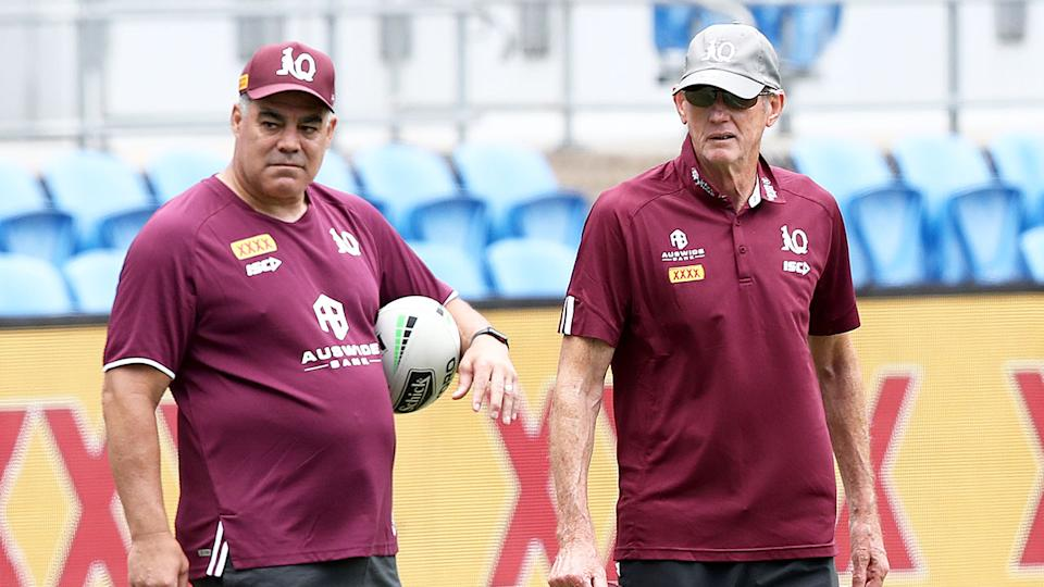Pictured here, Mal Meninga and Wayne Bennett oversee a Queensland training session.