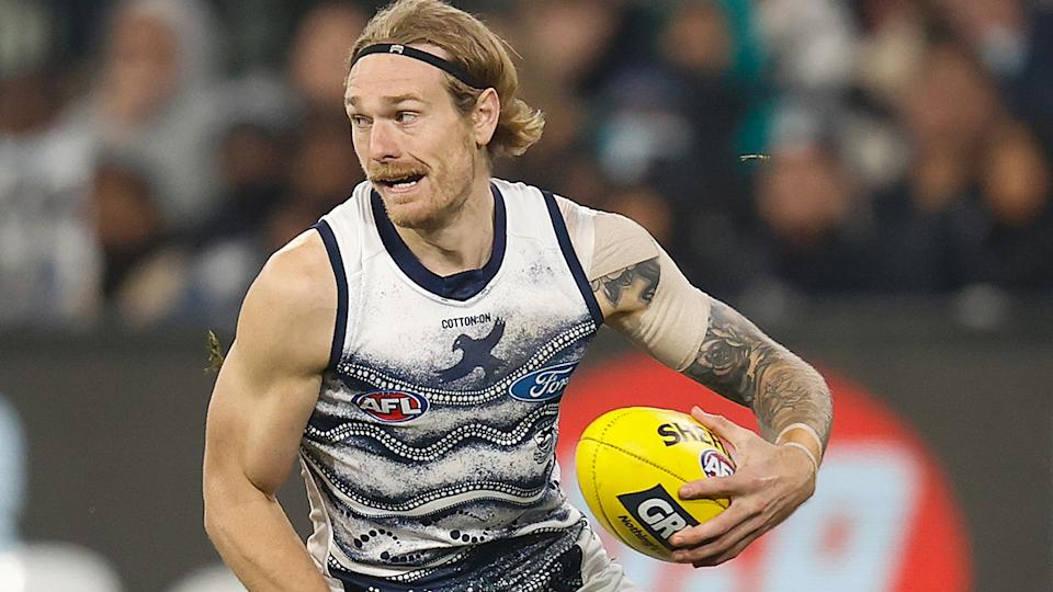 Geelong remain optimistic that All-Australian defender Tom Stewart will recover from surgery in time to potentially play in the AFL grand final, should the Cats make it. (Photo by Michael Willson/AFL Photos via Getty Images)
