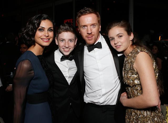 IMAGE DISTRIBUTED FOR FOX SEARCHLIGHT - From left, actors Morena Baccarin, Jackson Pace, Damian Lewis and Morgan Saylor attend the Fox Golden Globes Party on Sunday, January 13, 2013, in Beverly Hills, Calif. (Photo by Todd Williamson/Invision for Fox Searchlight/AP Images)
