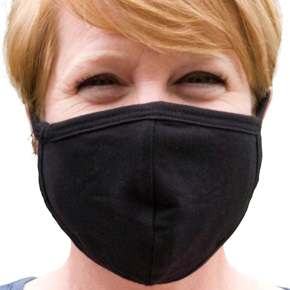 <p>This <span>Buttonsmith Black Adult Cotton Face Mask with Filter Pocket</span> ($13) is made of comfortable, breathable material.</p>
