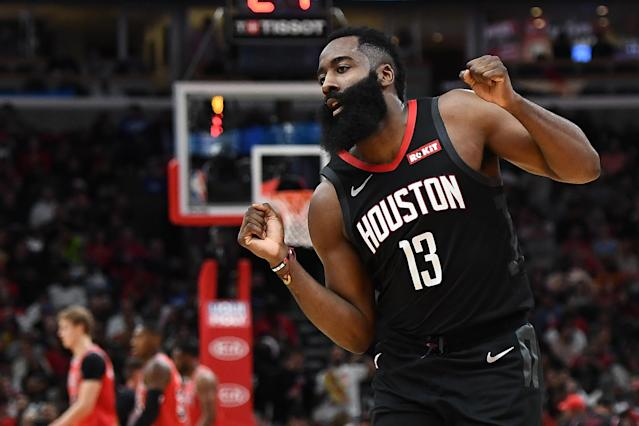 James Harden durante un partido con los Rockets. Foto: Stacy Revere/Getty Images.