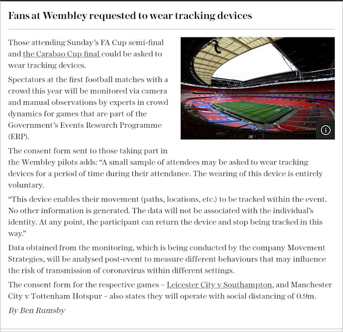 Fans at Wembley requested to wear tracking devices
