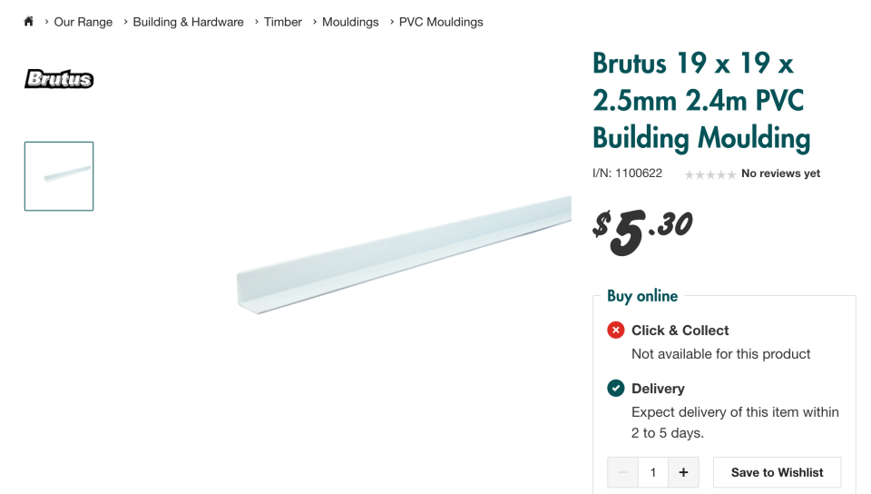 a screenshot of pvc building moulding from Bunnings