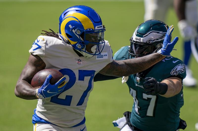Los Angeles Rams running back Darrell Henderson (27) in action against Philadelphia Eagles linebacker Nate Gerry.