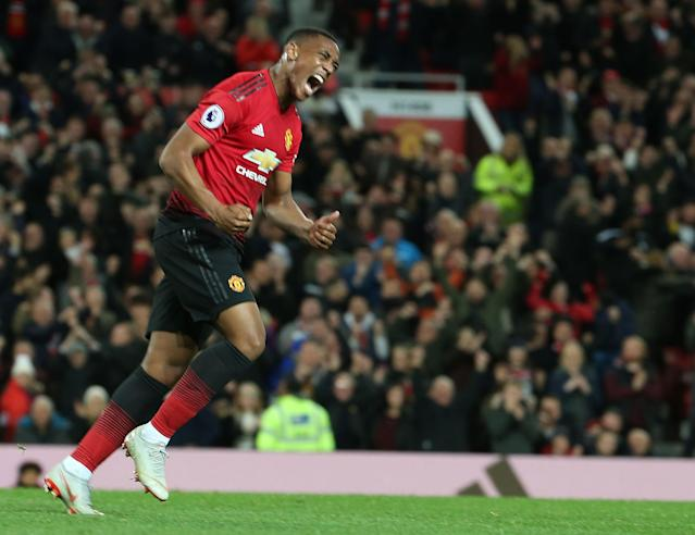 Anthony Martial celebrates the goal, which cost Manchester United a large sum of money