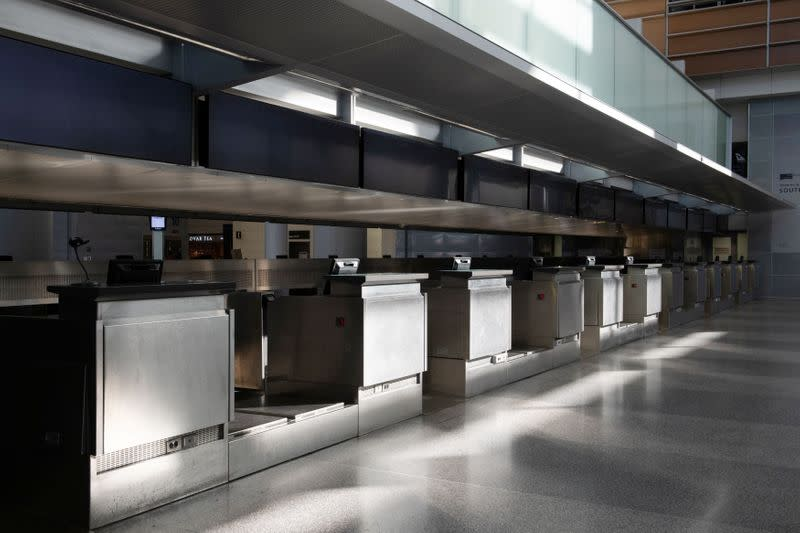 An empty International Terminal of San Francisco International Airport is pictured after the U.S. air travel ban, in San Francisco