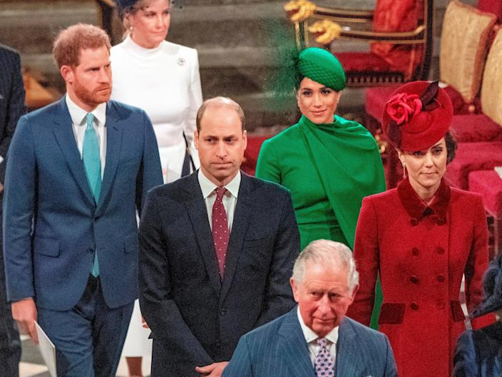 Harry Meghan William Kate commonwealth service