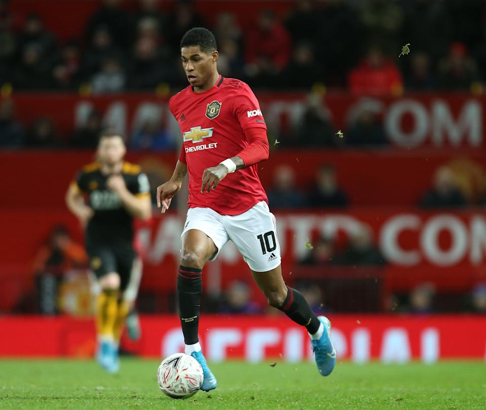MANCHESTER, ENGLAND - JANUARY 15: Marcus Rashford of Manchester United in action during the FA Cup Third Round Replay match between Manchester United and Wolverhampton Wanderers  at Old Trafford on January 15, 2020 in Manchester, England. (Photo by Tom Purslow/Manchester United via Getty Images)