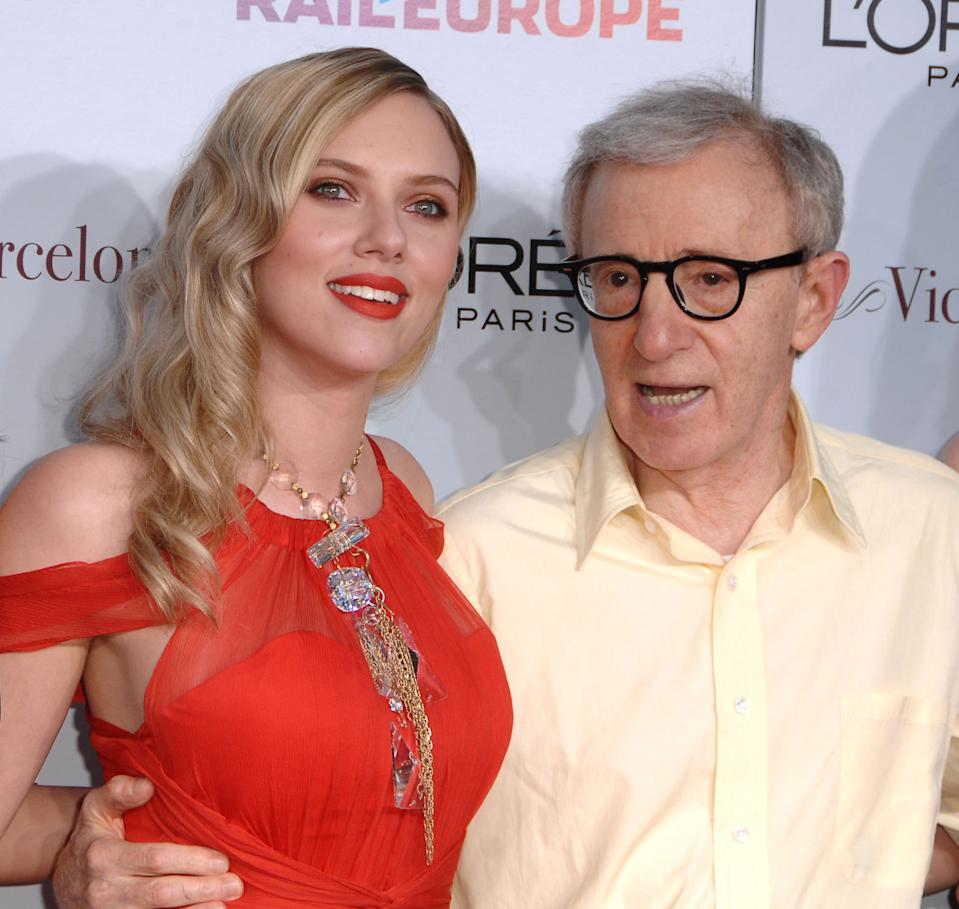 """WESTWOOD, CA - AUGUST 04: Scarlett Johansson and Woody Allen  arrives at The Los Angeles Premiere of """"Vicky Cristina Barcelona""""  at the Mann Village Theatre on August 4, 2008 in Westwood, California. (Photo by Steve Granitz/WireImage)"""