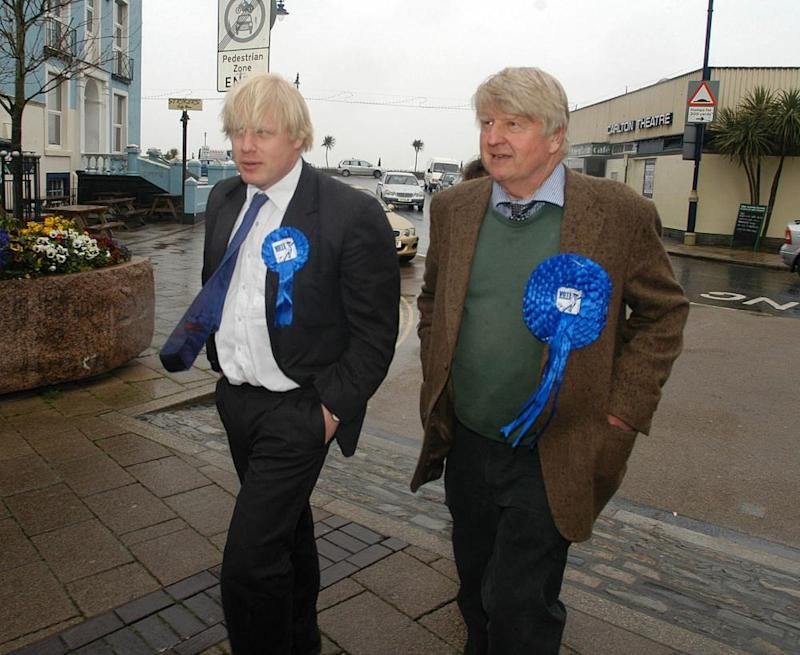 Johnson with father, Stanley, in Devon, April 2005