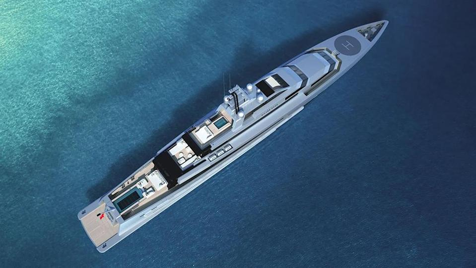 The all-aluminum superyacht spans 260 feet. - Credit: SilverYachts