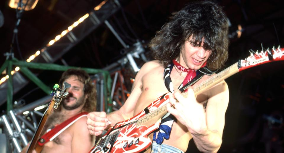 Guitar great Eddie Van Halen died from cancer in October at 65. Van Halen, the band he co-founded with his brother, announced they would not continue as a group without him. (Photo by Ross Marino/Getty)