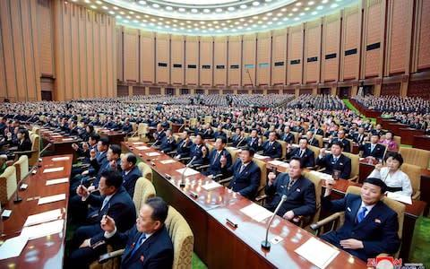 <span>The Supreme People's Assembly met on Thursday and agreed on a major reshuffle</span> <span>Credit: HOGP/KCNA via KNS </span>