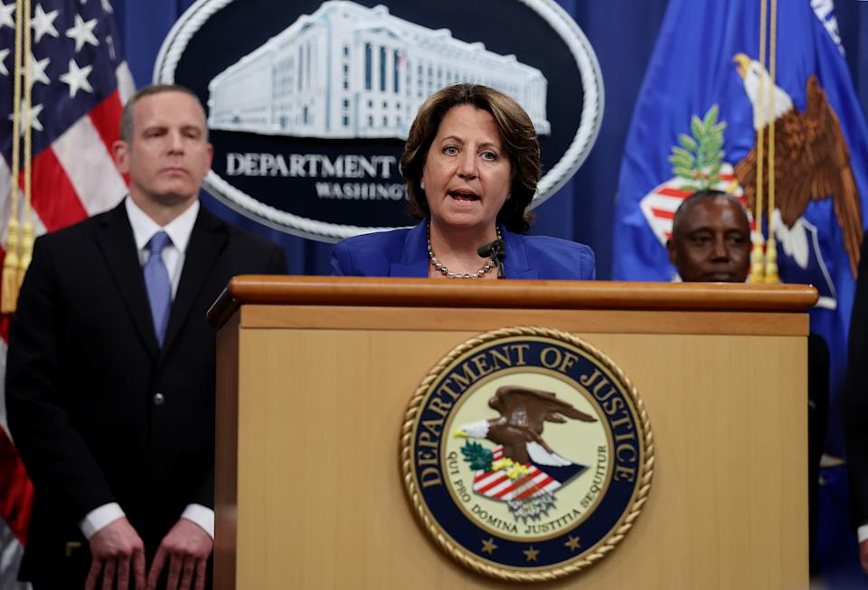 Deputy U.S. Attorney General Lisa Monaco announces the recovery of millions of dollars worth of cryptocurrency from the Colonial Pipeline Co. ransomware attacks as she speaks during a news conference with FBI Deputy Director Paul Abbate and Acting U.S. Attorney for the Northern District of California Stephanie Hinds at the Justice Department in Washington, U.S., June 7, 2021. REUTERS/Jonathan Ernst/Pool