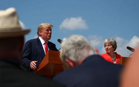 Britain's Prime Minister Theresa May and U.S. President Donald Trump hold a joint news conference at Chequers the official country residence of the Prime Minister near Aylesbury