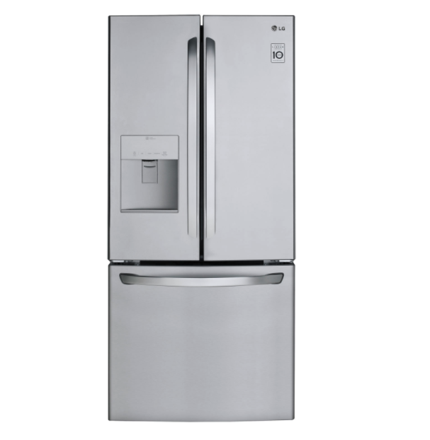 "LG 30"" 21.8 Cu. Ft. French Door Refrigerator with Water Dispenser. Image via Best Buy."